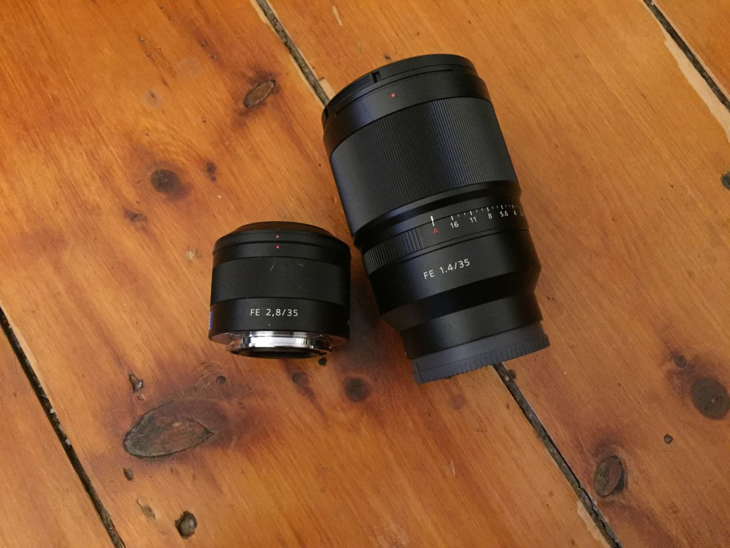The new 35mm 1.4 next to the older 2.8