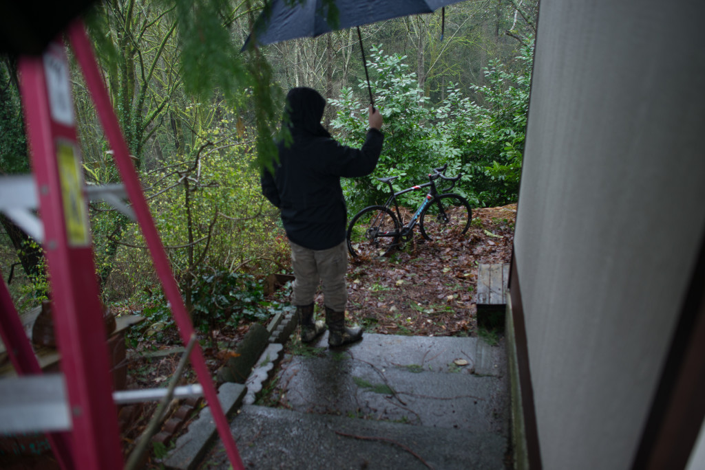 Umbrellas, ladders, and a cross bike.