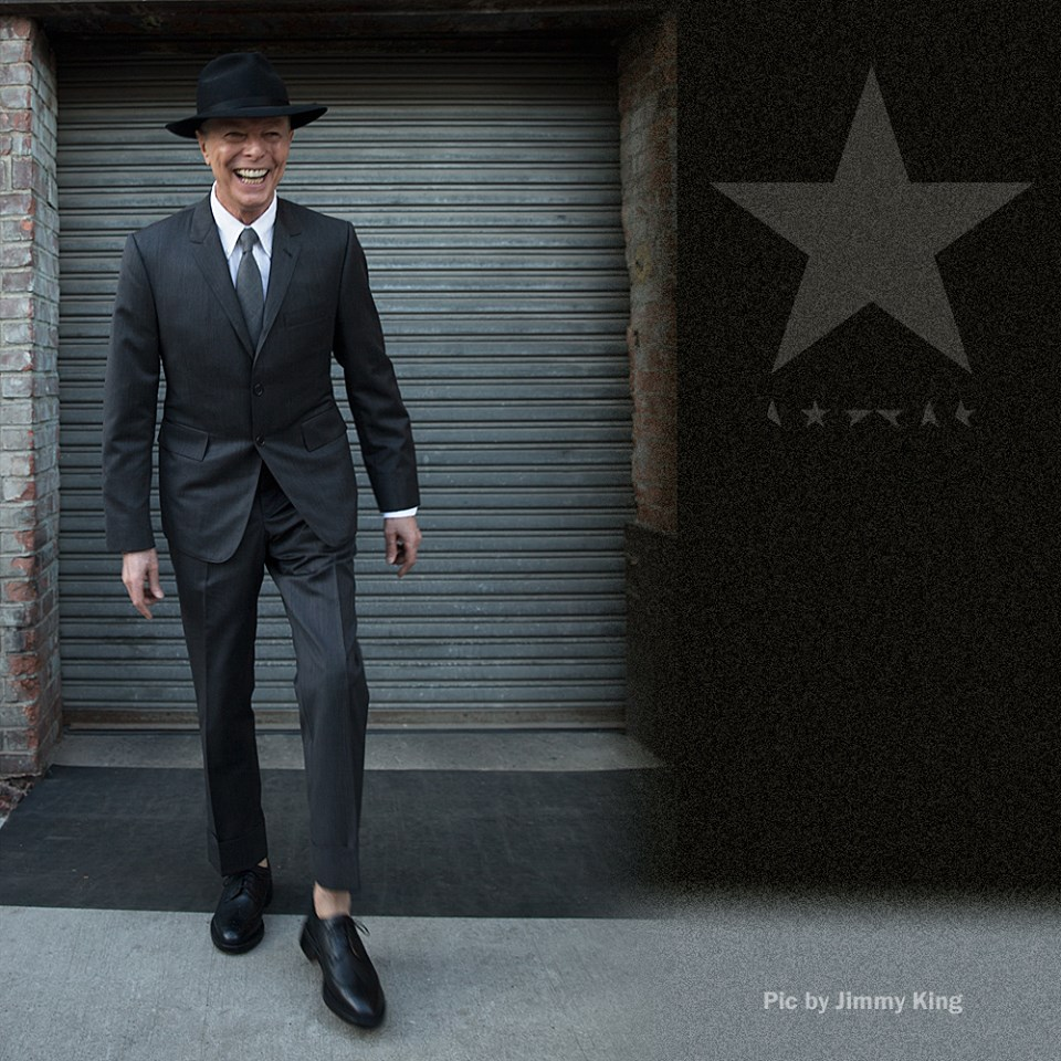 Last public photo of Bowie, taken last week to celebrate his birthday and album release. Photo: Jimmy King.