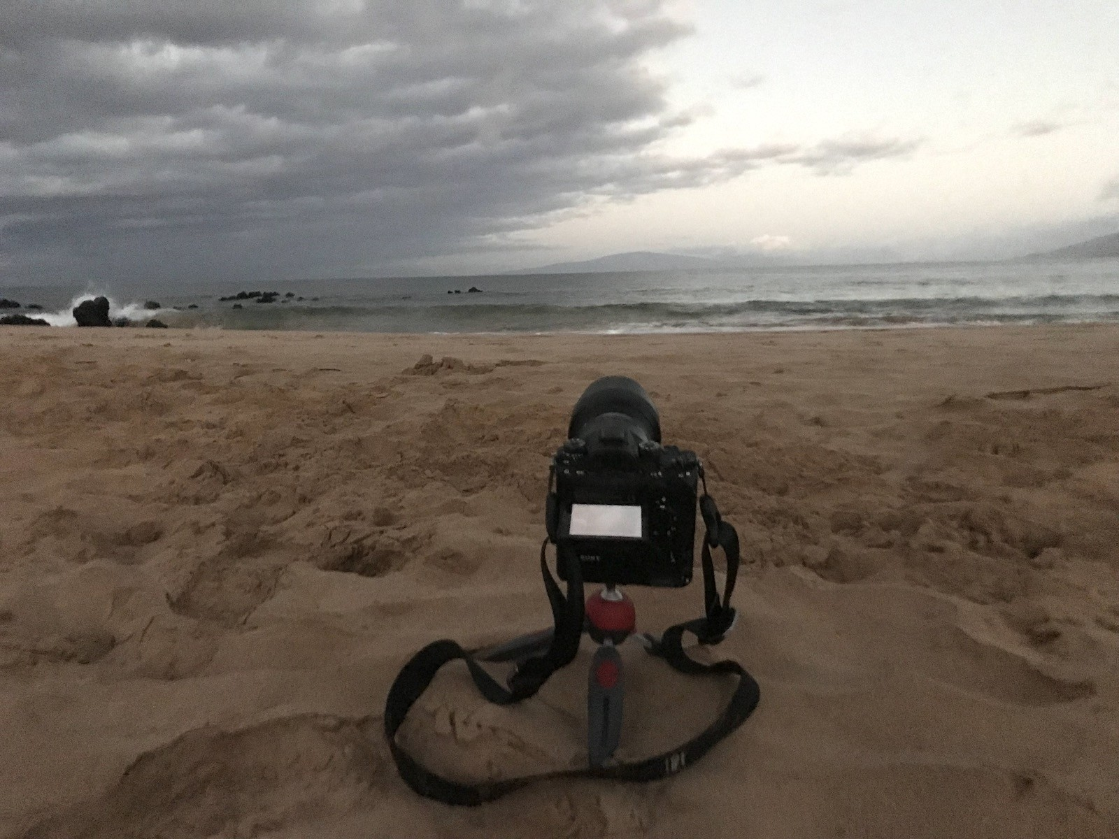 The beach setup—not shown is the sneaker wave that rushed on shore and I backflipped with the camera to avoid it. Here's video of the same scene.