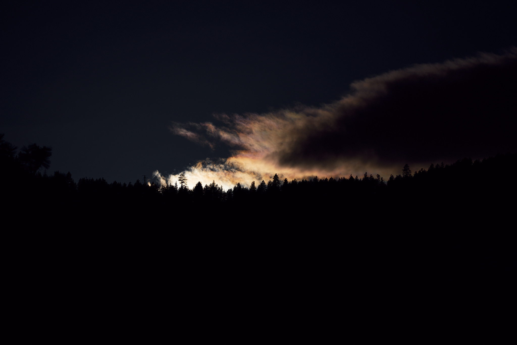 Sony Alpha One, first photo, the light falling behind a ridge on the North Cascades.